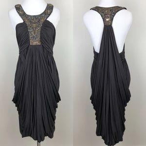 All Saints | Akiko Dress Black Draped Embellished